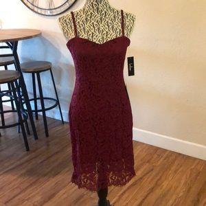LULUs Burgundy lace cocktail dress